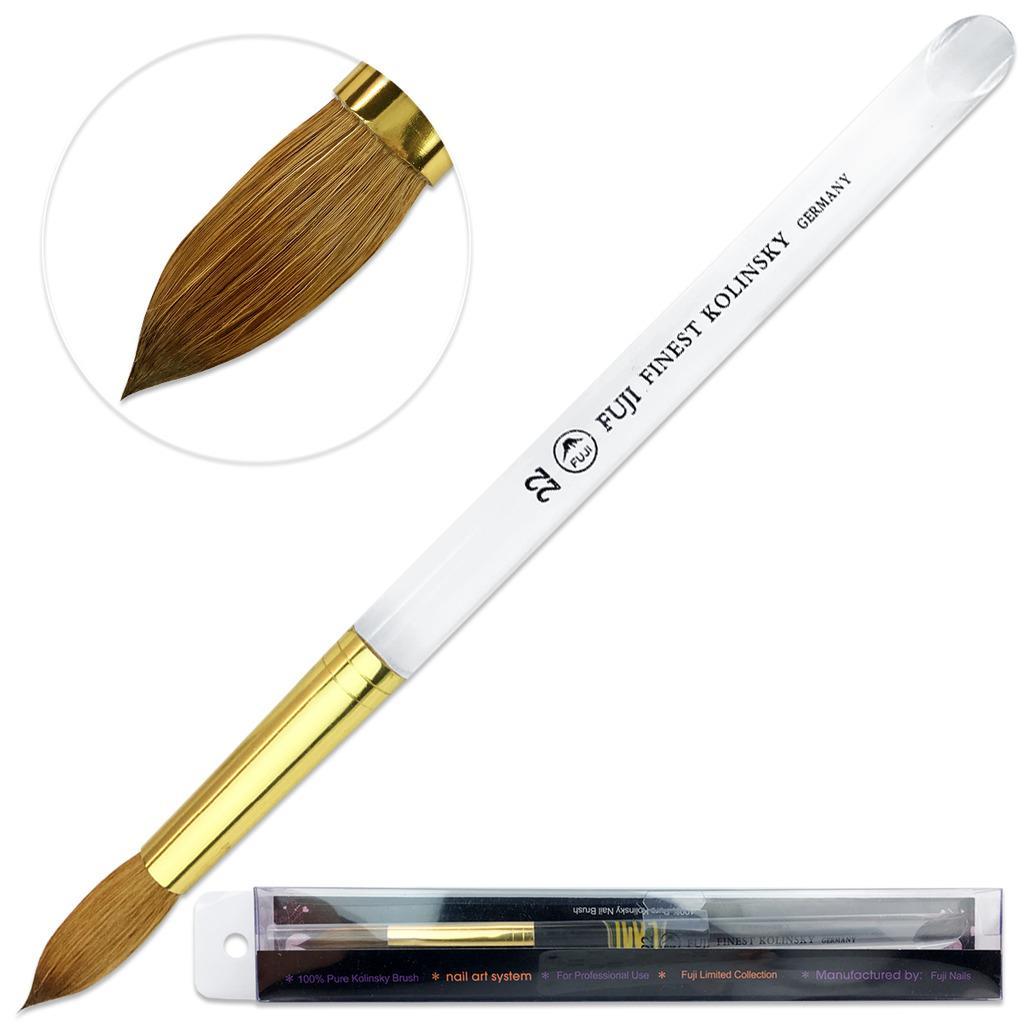 Fuji Finest Kolinsky Acrylic Nail Brush with Round Acrylic Handle Size 22