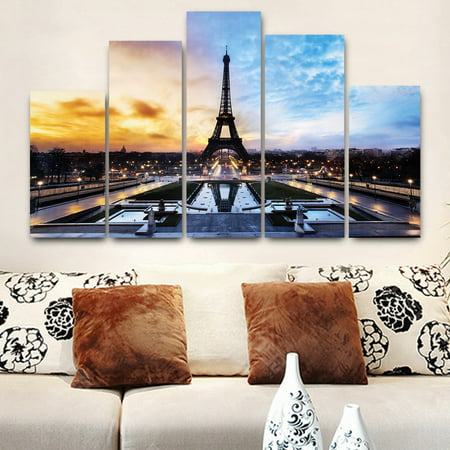 5 in 1 Modern Art Oil Paintings Eiffel Tower Canvas Print Unframed Pictures Home Wall Sticker Decor (Tonalist Painting)