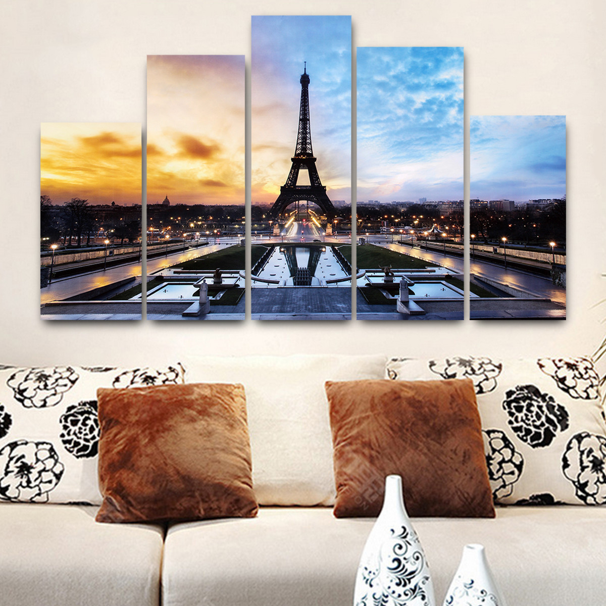 5 in 1 Modern Art Oil Paintings Eiffel Tower Canvas Print Unframed Pictures Home Wall Sticker Decor