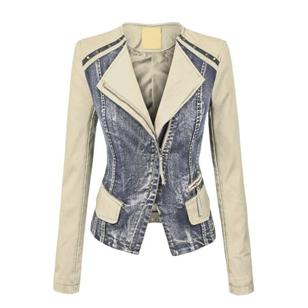 MBJ WJC1015 Womens Collarless Faux Leather Washed Denim Moto Jacket M CREAM