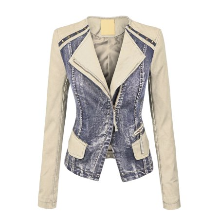 MBJ WJC1015 Womens Collarless Faux Leather Washed Denim Moto Jacket M