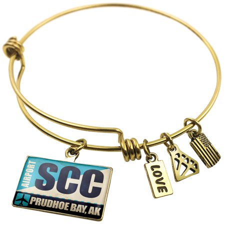 Expandable Wire Bangle Bracelet Airportcode Scc Prudhoe Bay  Ak   Neonblond