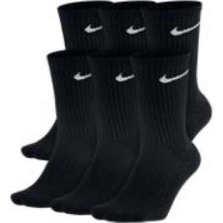 NIKE Performance Cushion Crew Socks 6 Pack Large BlK/WHT SX5171 010