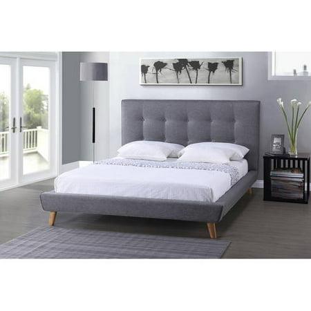 Baxton Studio Jonesy Scandinavian Style Mid Century Grey Fabric Upholstered King Size Platform Bed