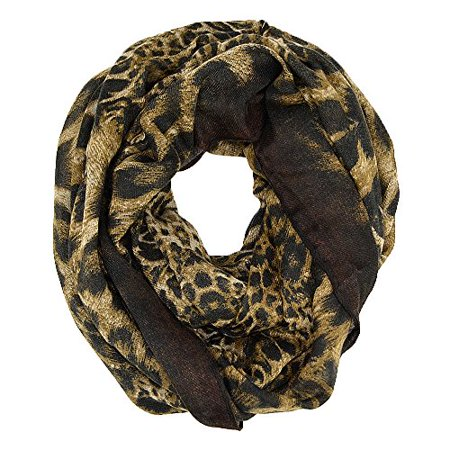 Leopard Animal Print Wide Infinity Scarf (Brown) ()