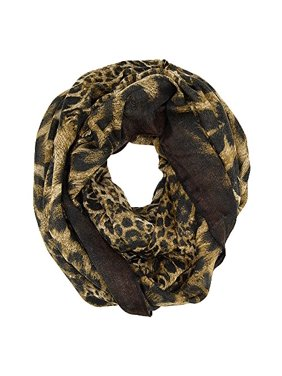Leopard Animal Print Wide Infinity Scarf (Brown)