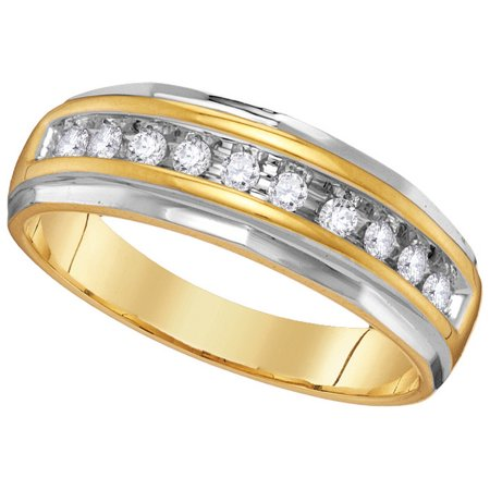 10kt Yellow Gold Mens Round Diamond 2-tone Wedding Anniversary Band Ring 1/4 Cttw Diamond Invisible Mens Ring