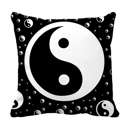 PHFZK Asian Pillow Case, Chinese Symbol of Taoism Yin Yang Pillowcase Throw Pillow Cushion Cover Two Sides Size 18x18 inches