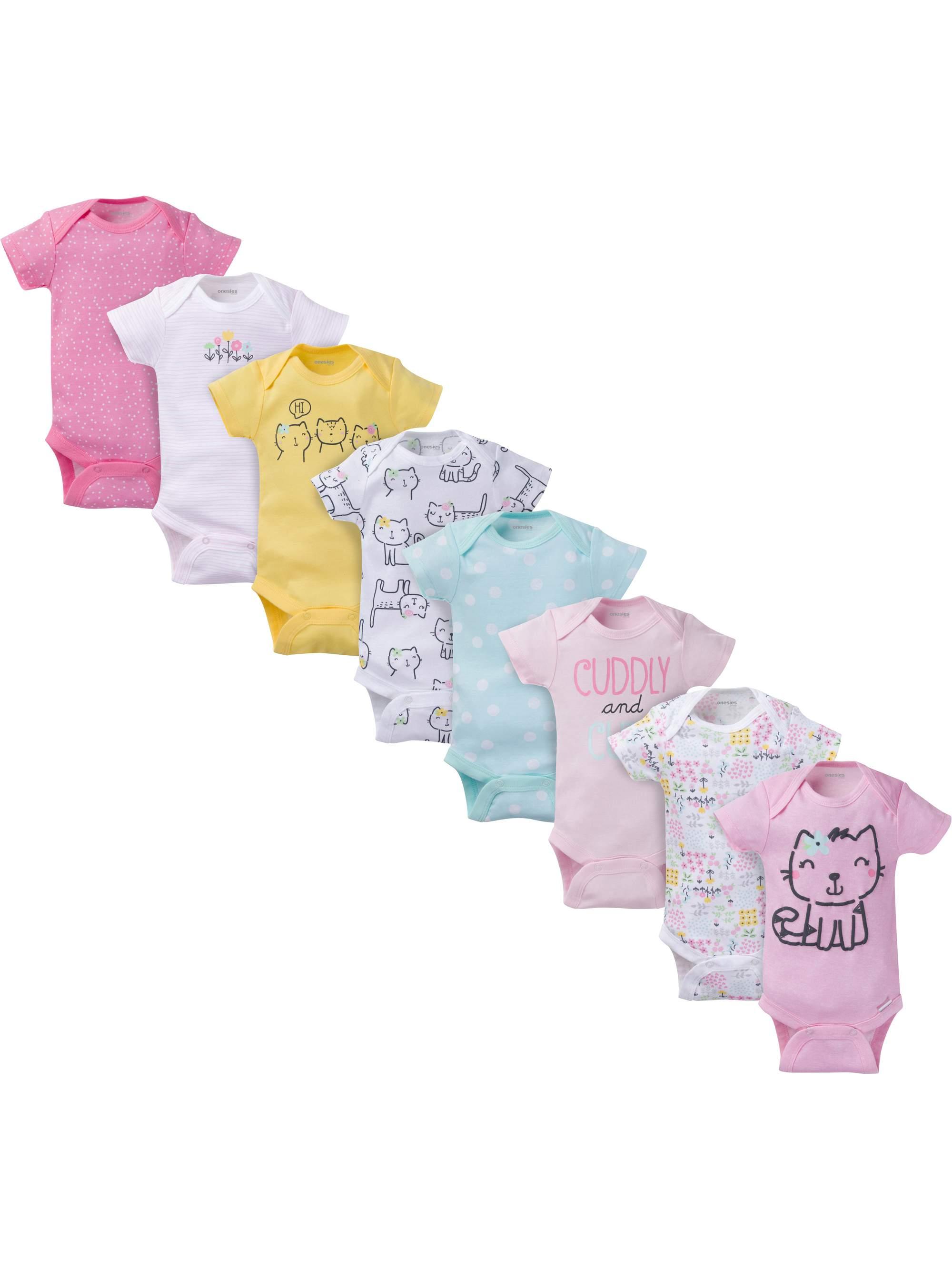 Assorted Short Sleeve Bodysuits Set, 8pk (Baby Girl)