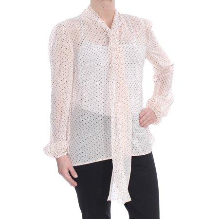 RACHEL ZOE Womens Pink Tie Polka Dot Long Sleeve Blouse Wear To Work Top  Size: S Wear Polka Dots