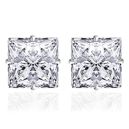 Orchid Jewelry 14k Solid White Gold 6 mm Princess-Cut White CZ Stud Earrings 14k White Gold Six Prong