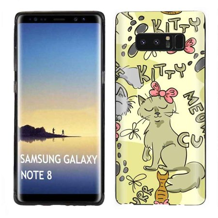 [Tech Cover] Samsung Galaxy Note 8 (Black) Slim Impact Resistant Armor Cover Case [Kiity Meow
