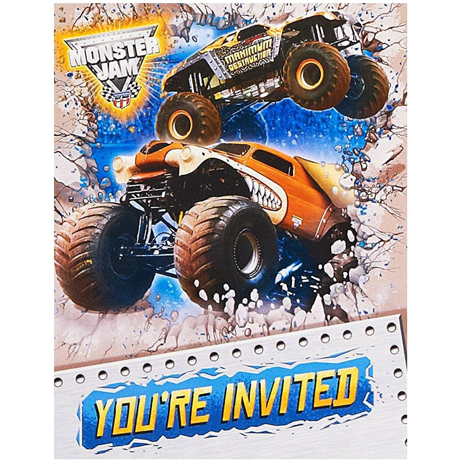 Monster Jam Party Supplies - Invitations (8), Includes (8 ...