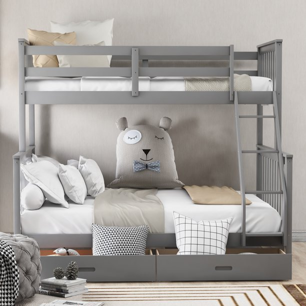 Kids Bunk Beds For Boys Girls Twin Over Full Bunk Bed Frame Hardwood Bunk Bed Frame
