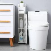 Ktaxon Small Bathroom Storage Corner Floor Cabinet with Doors and Shelves, Thin Toilet Vanity Cabinet, Narrow Bath Sink Organizer, Towel Storage Shelf for Paper Holder, White