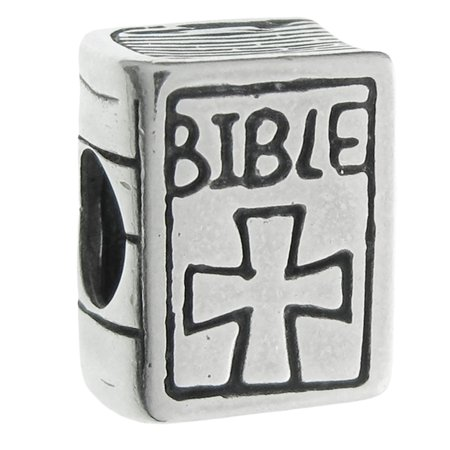 Queenberry Sterling Silver Christian Bible Book Cross European Style Bead Charm Fits Pandora (Christian Charms)