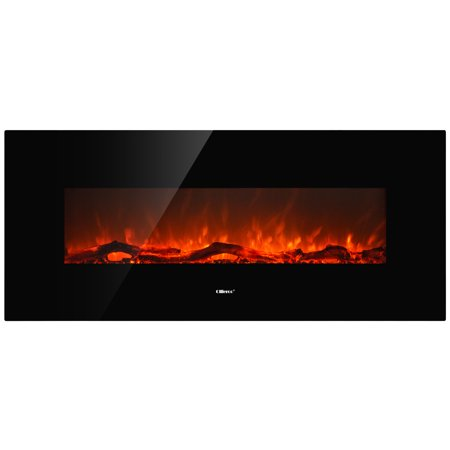 "Image of Allieroo 50"" Smokeless Wall Mounted Electric Fireplace with Glass Firestone,1500 watts Black"