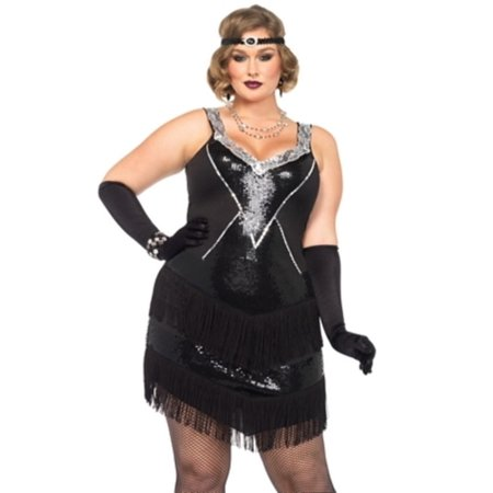 Leg Avenue Women's Plus Size Glamorous Gatsby Flapper 20s Costume - Flapper Dress Plus Size Cheap