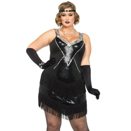 Leg Avenue Women's Plus Size Glamorous Gatsby Flapper 20s - Flapper Halloween Costume Plus Size