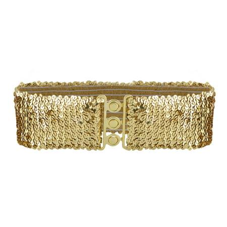 Women's Sparkly Glitter Sequin Wide Stretch Elastic Belt Accessory 1960's Womens Accessories Belt