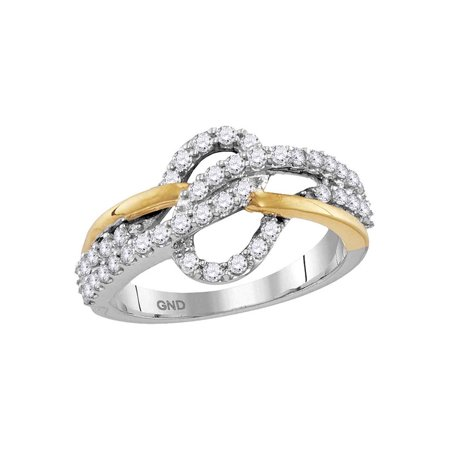 10kt Two-tone White Yellow Gold Womens Round Diamond Woven Band Ring 5/8 Cttw Fine Jewelry Ideal Gifts For Women Gift Set From Heart