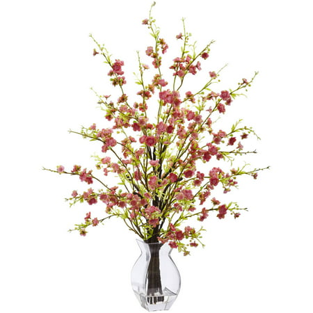 Nearly Natural Cherry Blossom in Glass Vase