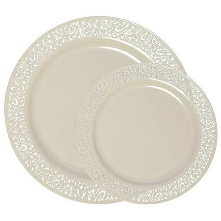 Party Joy Lace Premium Heavyweight Disposable Plastic 50 Piece Plate Set ()