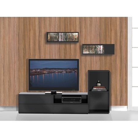 Avenue TV Stand Kit with Open Storage Unit & Decorative Wall Rectangles