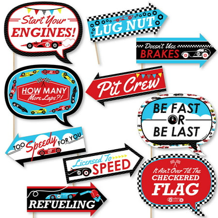 Funny Let's Go Racing - Racecar - Baby Shower or Race Car Birthday Party Photo Booth Props Kit - 10 Piece (Race Car Birthday Party Ideas)