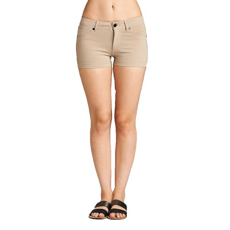 Essential Basic Women's Summer Casual Stretchy Shorts - Junior (Yellow Stretch Shorts)