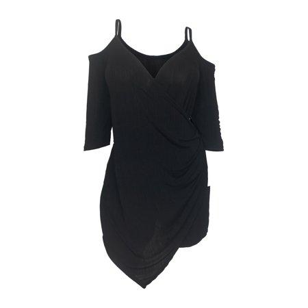eVogues Apparel - eVogues Plus Size Off Shoulder Romper Dress Black ...
