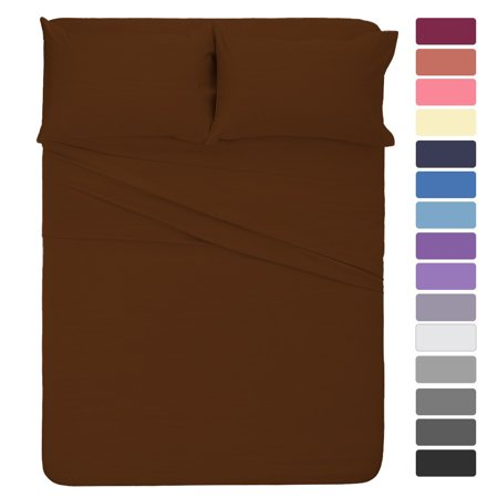 The Great American Store 600 Thread Count 100% Cotton Solid 4PC Sheet Set Cal King Chocolate (1 Fitted sheet, 1 Flat sheet & 2 Pillowcases) - Best Natural Cotton Super finish (Best Store Bought Chocolate)