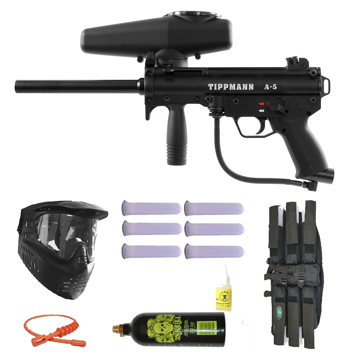 Click here to buy Tippmann A-5 Paintball Marker Gun 3Skull Mega Set by Tippmann Paintball.