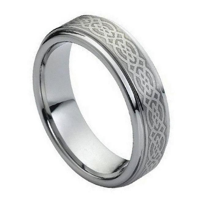 TK Rings 145TR-7mmx15.0 7 mm Brushed Laser Engraved Celtic Knot Pattern Tungsten Ring - Size 15 - image 1 of 1
