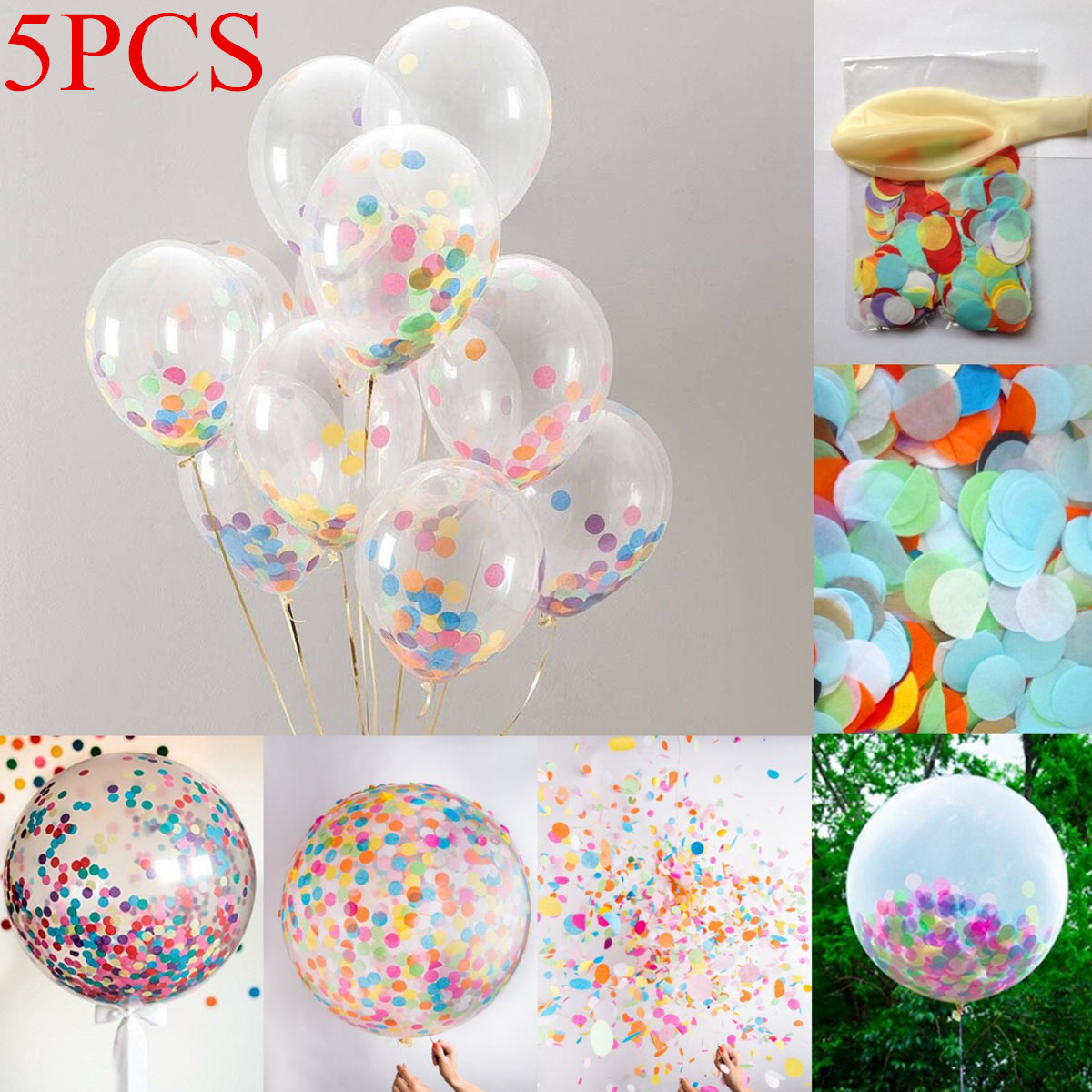 5Pcs 18 inch Clear Latex Balloons With Confetti Wedding Birthday Party Christmas Gift