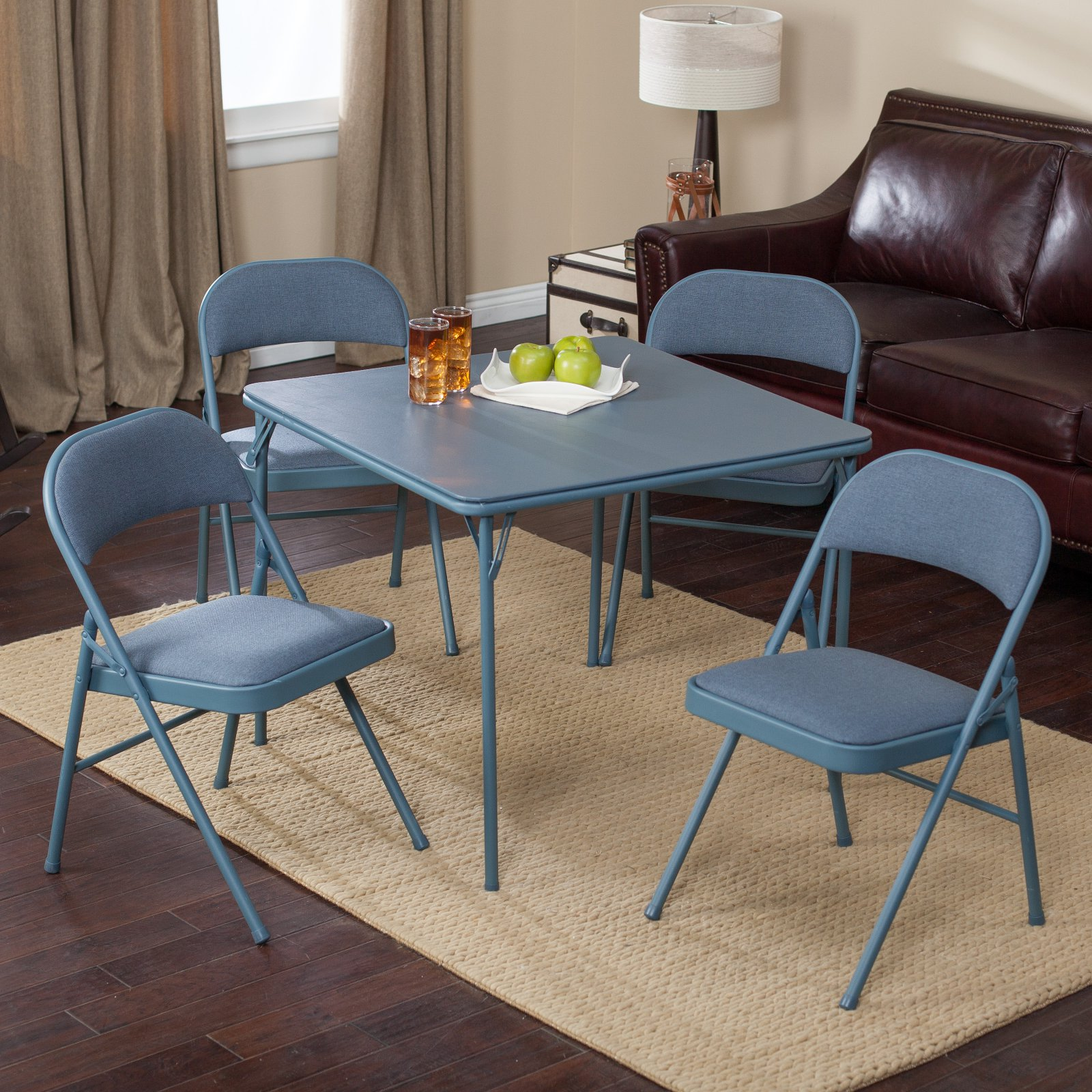 Merveilleux Meco Sudden Comfort Deluxe Double Padded Chair And Back  5 Piece Card Table  Set   Cadet Blue