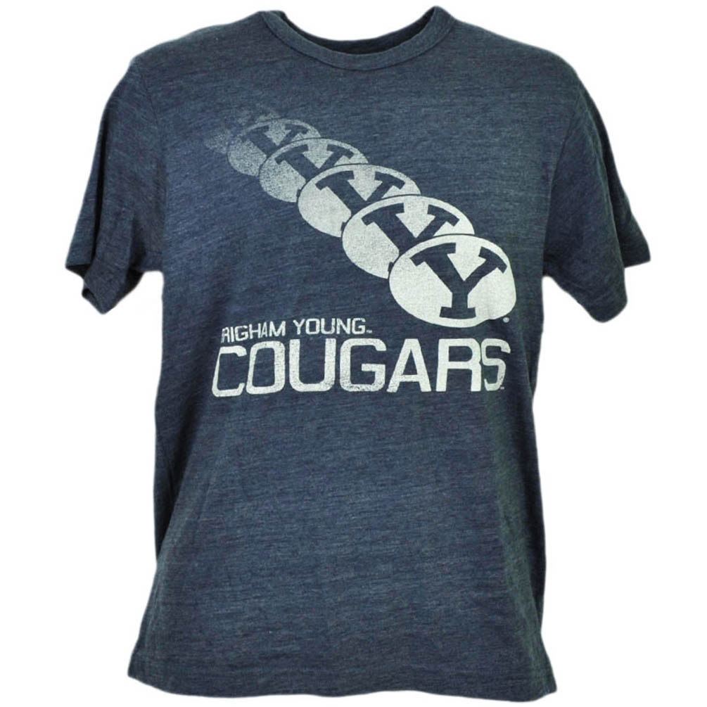 NCAA Brigham Young Cougars Repeat Logo Tshirt Tee Mens Short Sleeve Blue XLarge