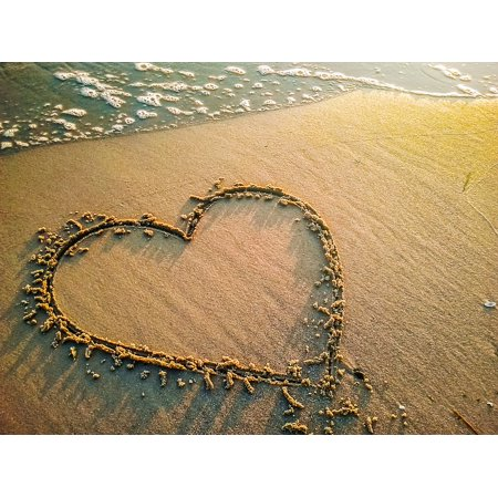 Laminated Poster Water Love Beach Sea Sand Symbol Heart Wave Poster