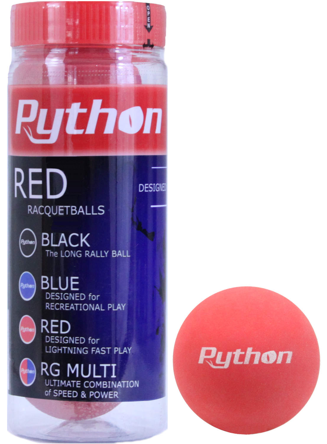 Python 3 Ball Can Red Racquetballs (Lightning Fast!) by