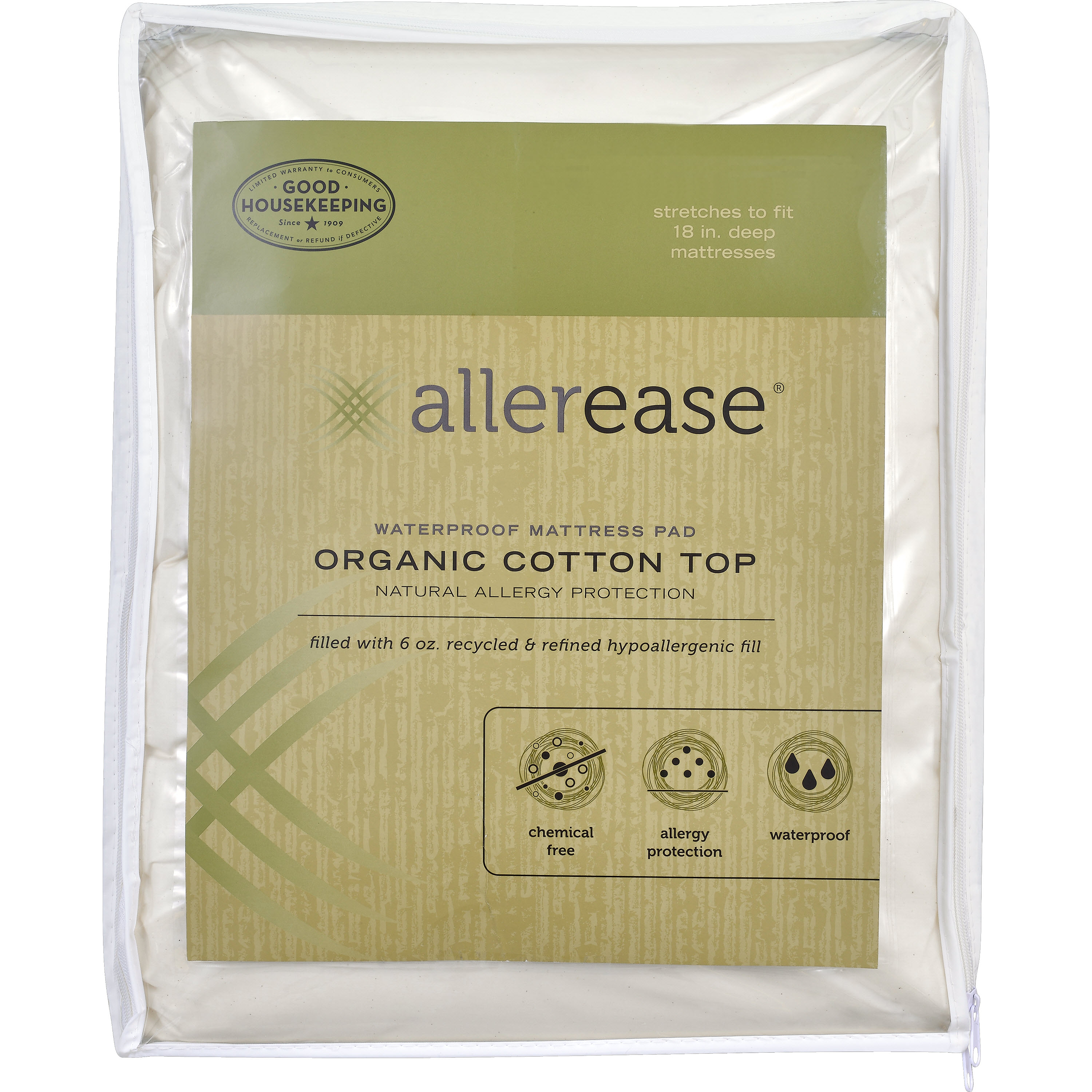 AllerEase Organic Cotton Cover Allergy Protection Waterproof Mattress Pad, Twin