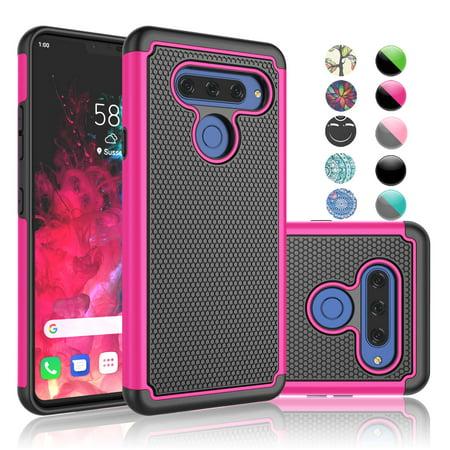 "Njjex Cases For 6.4"" LG V40 / LG V40 ThinQ / LG Storm / LG V40 ThinQ 2018, Njjex Shockproof Impact Hybrid Defender Protective Rugged Armor Case Cover For LG V40 ThinQ 2018 -Hot Pink"
