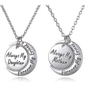 Mothers Day Jewelry Gift from Daughter, Mom & Daughter Necklace Set for 2 - ''Always My Mother/Daughter Forever My Friend'' Unique Mom/Daughter Matching Moon Pendant Necklaces