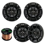 """4 X Kicker 40PS42 4"""" Inch Weather-Proof Powersports Vehicles 2-Way 2-Ohm Coaxial ATV, Motorcycle, Marine, Boat, Speakers (2 Pair) Bundle With Enrock 16g 50 Feet Speaker Wire"""
