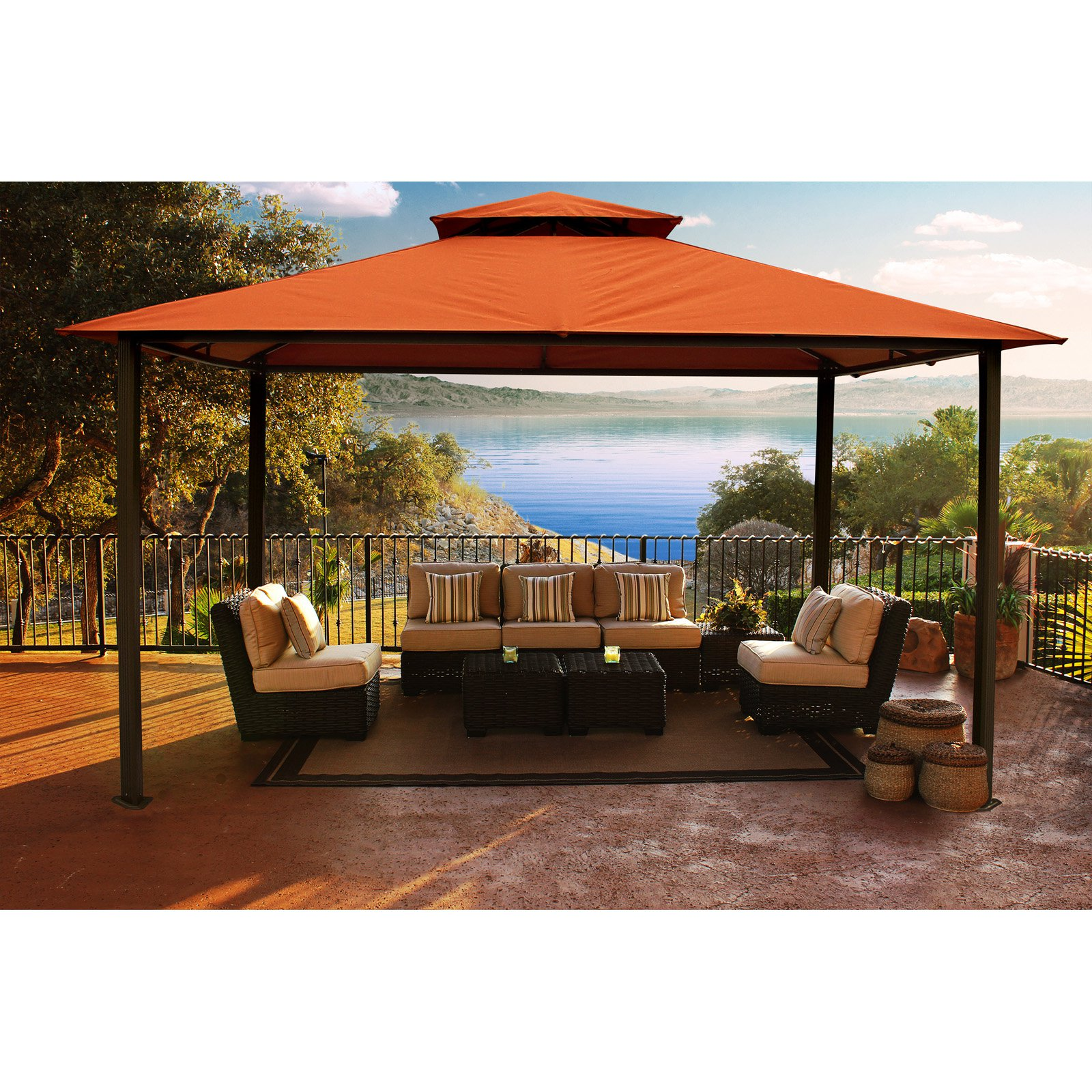 Savannah 11' x 14' Gazebo with Rust Sunbrella Top