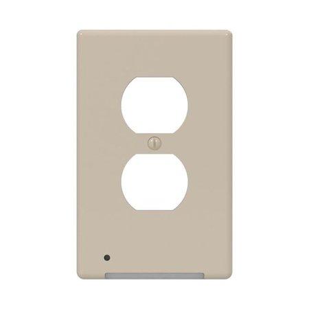 Westek 3002626 LumiCover Almond 1-Gang Plastic Duplex Nightlight Wall Plate Plastic Outlet Wall Plate