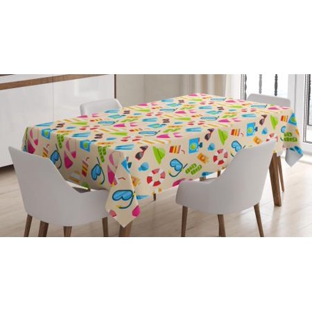 Flip Flop Tablecloth, Beach Vacation Elements Sunglasses Camera Snorkeling Mask Seashell and Flipper, Rectangular Table Cover for Dining Room Kitchen, 60 X 84 Inches, Multicolor, by Ambesonne (Beach Kitchen Accessories)