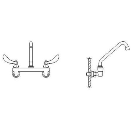 Delta 28C4244-S8 Commercial Ceramic Disc Wallmount Kitchen Faucet with  Tubular Swing Spout and Vandal Resistant Blade Handles, Chrome