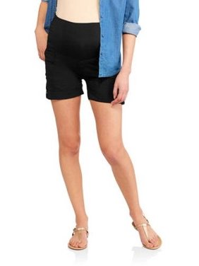 Times Two Maternity Overbelly Pork Chop Pocket Poplin Shorts - Available in Plus Sizes