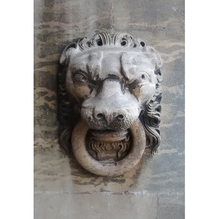 - LAMINATED POSTER Sandstone Lion Stone Carving Sculpture Lion's Head Poster Print 24 x 36
