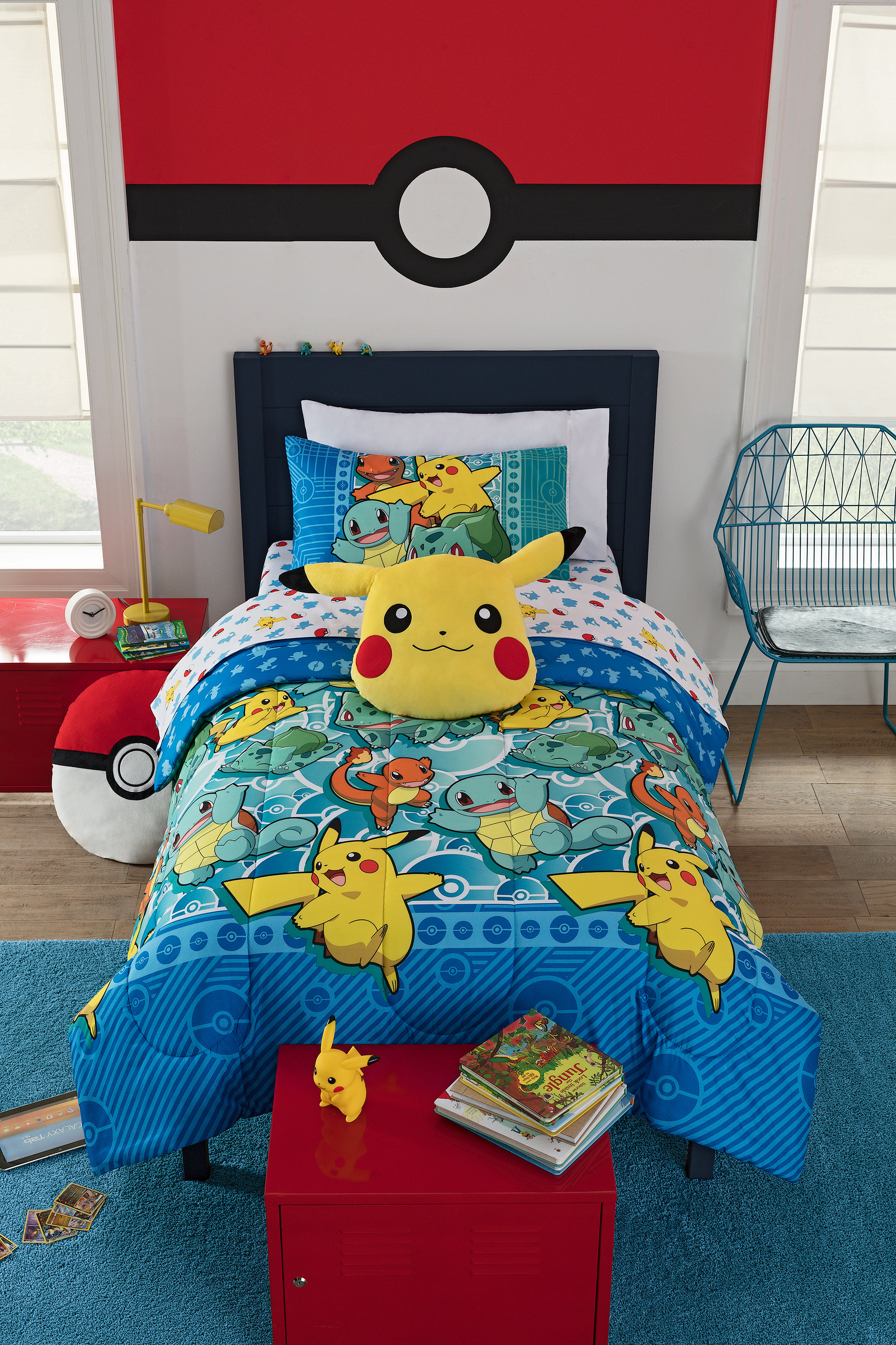 pokemon kids bedroom bed in a bag twin bedding set comforter pillow case sheets 87918867376 ebay. Black Bedroom Furniture Sets. Home Design Ideas